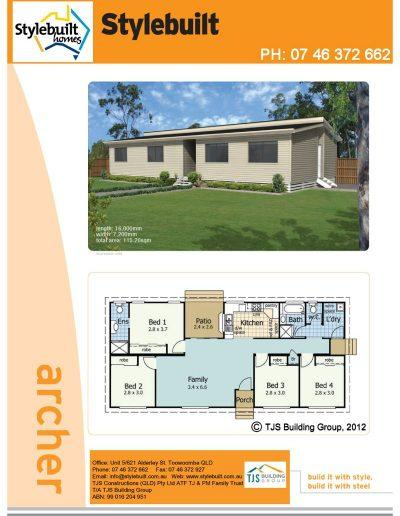 archer - 4 bedroom transportable home plans northern nsw western qld