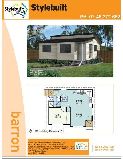 barron - 1 bedroom transportable home plans northern nsw western qld