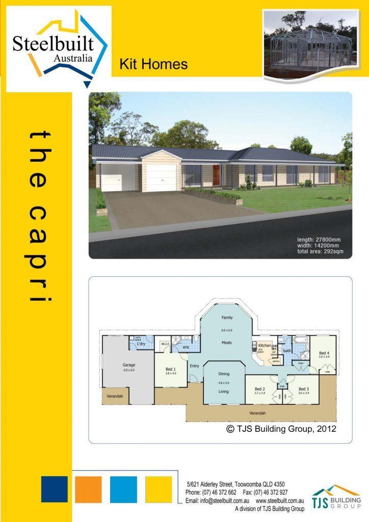 the capri - 4 bedroom kit homes plans western qld