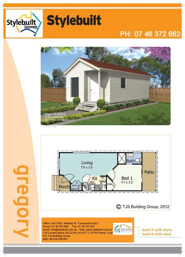 gregory - 1 bedroom transportable home plans northern nsw western qld